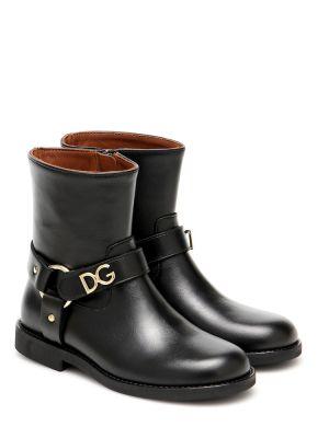 Skórzany czarny buty Dolce & Gabbana Kids