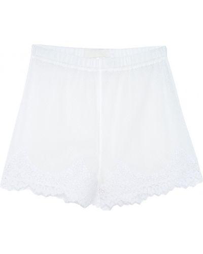 Нейлоновые белые короткие шорты на резинке с бахромой Laroom