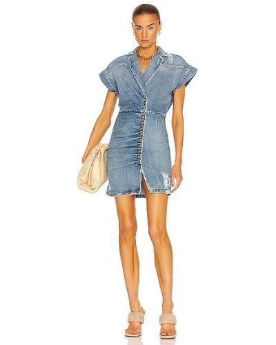 Niebieska sukienka jeansowa koronkowa bawełniana Retrofete