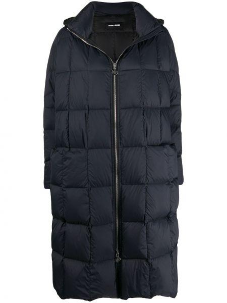 Черное расклешенное пальто с капюшоном с воротником на молнии Ienki Ienki