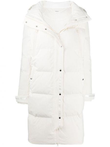 Пуховая белая длинная куртка с перьями с капюшоном Ba&sh