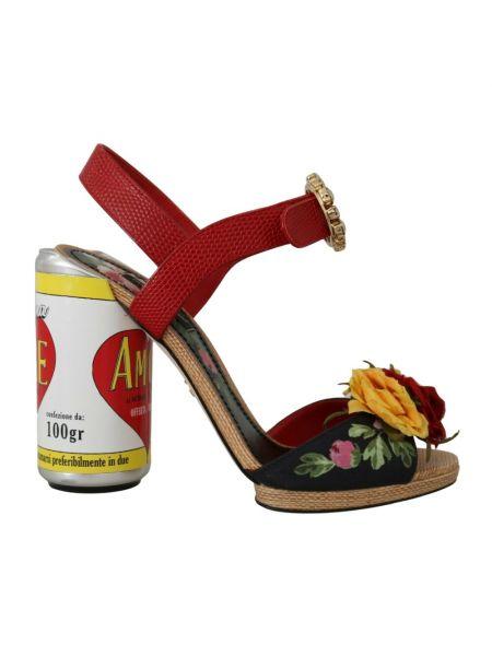 Czerwone sandały na obcasie Dolce And Gabbana