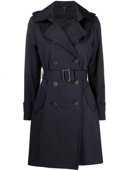 Czarny długi płaszcz bawełniany z długimi rękawami Lauren Ralph Lauren