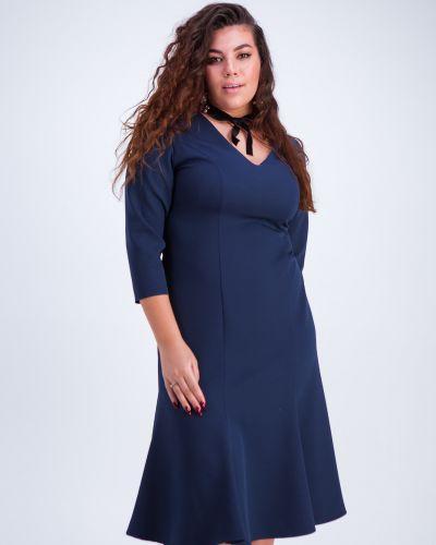 Синее платье годе с вырезом на молнии Grandua