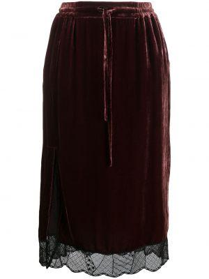 Красная ажурная шелковая юбка миди со вставками Zadig&voltaire