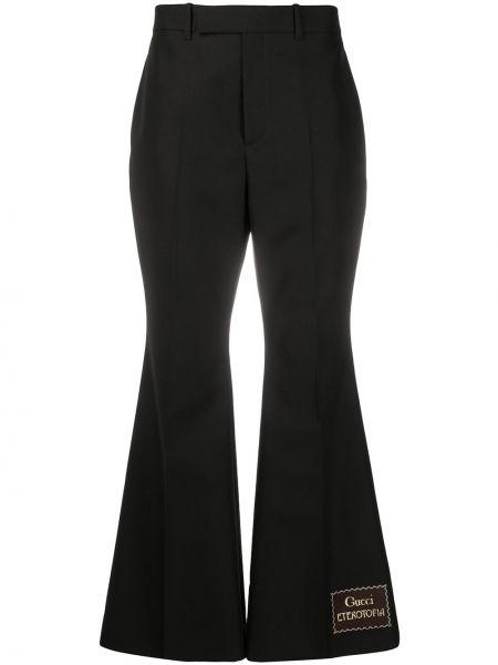 Rozbłysnął wełniany czarny spodnie z kieszeniami Gucci