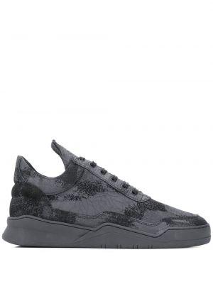 Ażurowy skórzany czarny wysoki sneakersy zasznurować Filling Pieces