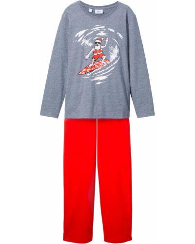 Пижама серая красный Bonprix