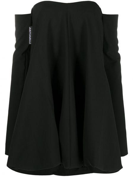 Расклешенное с рукавами черное платье макси Just Cavalli