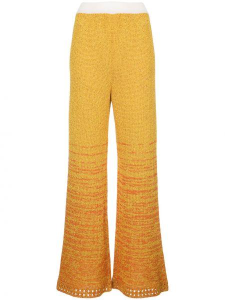 Хлопковые желтые брюки свободного кроя M Missoni