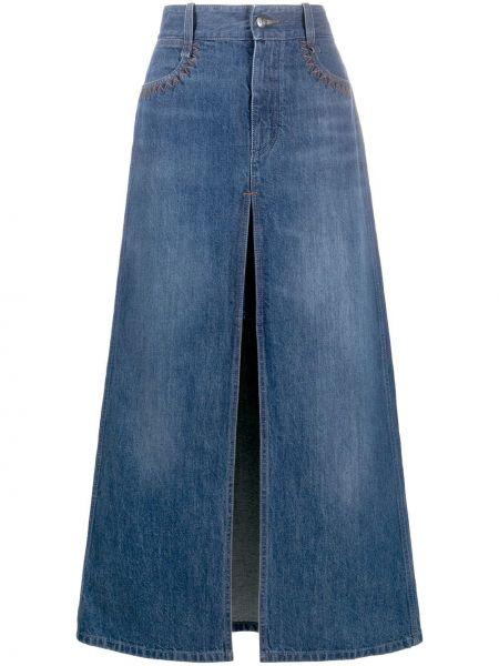 Синяя с завышенной талией джинсовая юбка на молнии с разрезом Chloé