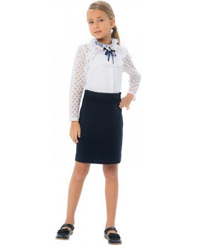 Ажурная гипюровая блуза на пуговицах с оборками карамелли