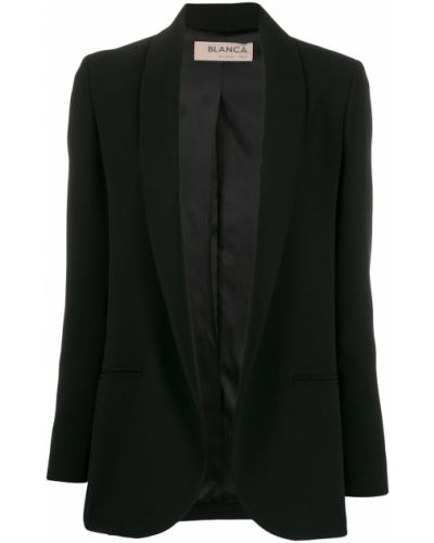 Черный удлиненный пиджак с карманами с воротником Blanca