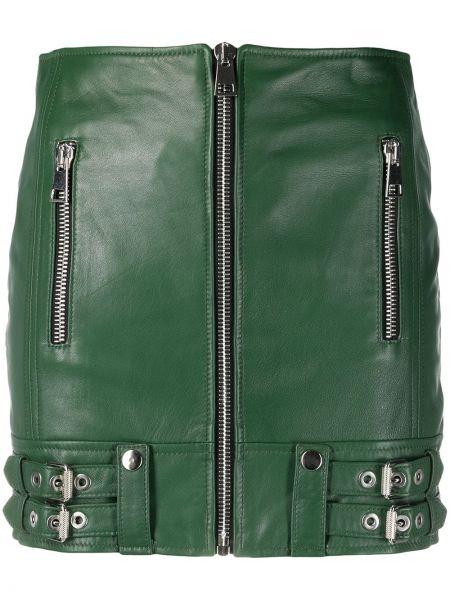 Зеленая кожаная юбка с карманами Manokhi