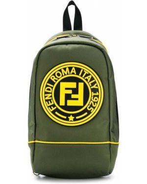 Рюкзак зеленый с логотипом Fendi Kids