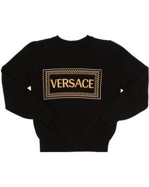Czarny sweter z haftem bawełniany Versace