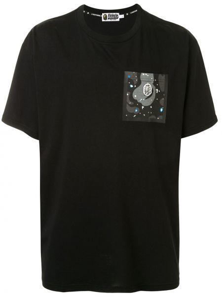 Хлопковая черная футболка с карманами с круглым вырезом Bape