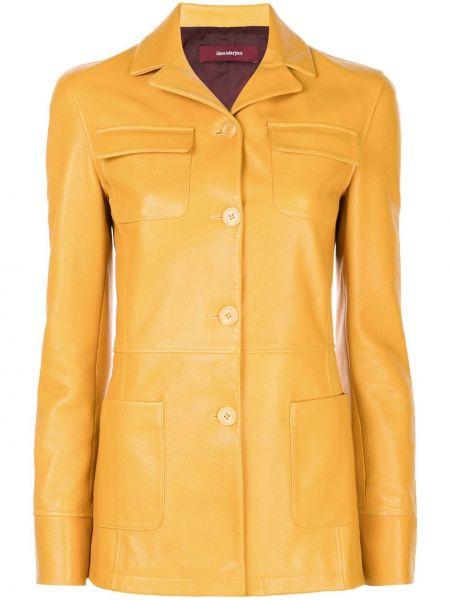 Желтая кожаная куртка с воротником Sies Marjan