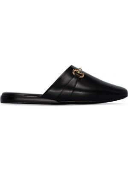 Kapcie skorzane - czarne Gucci