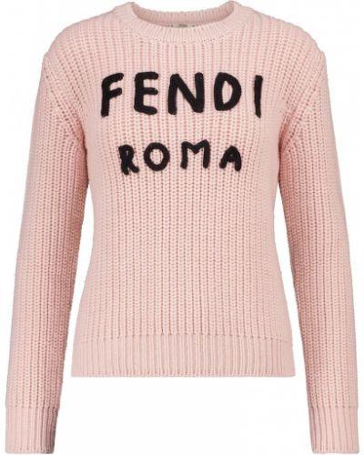 Розовый шерстяной свитер круглый Fendi