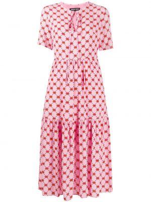 С рукавами розовое платье миди с вырезом Markus Lupfer