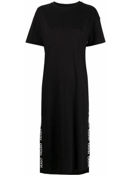 Прямое с рукавами черное платье мини Hugo