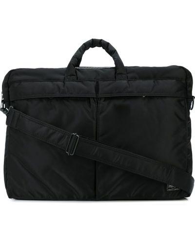 Nylon czarny teczka na ramieniu z logo Porter-yoshida & Co