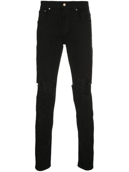 Czarne jeansy bawełniane z paskiem Domrebel