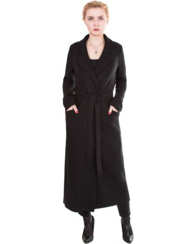 Длинное пальто с поясом прямое в полоску J-splash