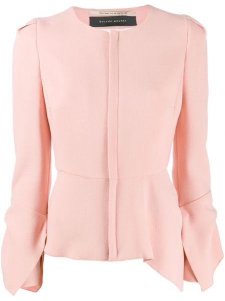 Шерстяной розовый приталенный пиджак Roland Mouret