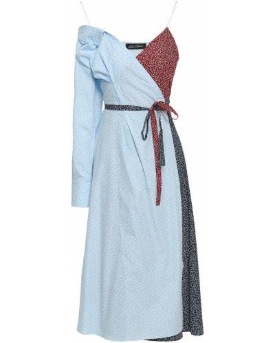 Хлопковое платье миди - синее Anna October