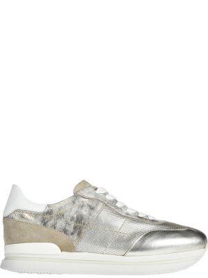Кожаные кроссовки - золотые Hogan