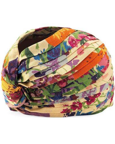Turban z wiskozy w kwiaty z printem Gucci