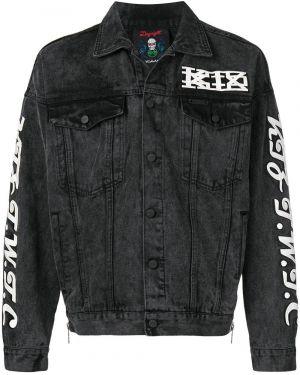 Джинсовая куртка с вышивкой - черная Ktz