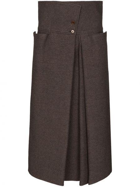 Brązowy wełniany z wysokim stanem spódnica midi Lemaire