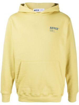 Żółta bluza długa z kapturem z długimi rękawami Affix
