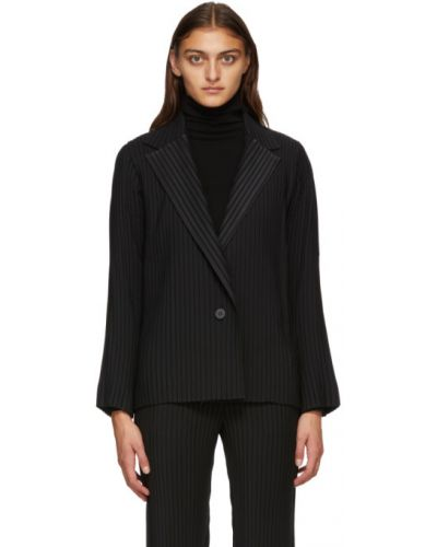 Плиссированный черный пиджак с воротником с карманами Issey Miyake