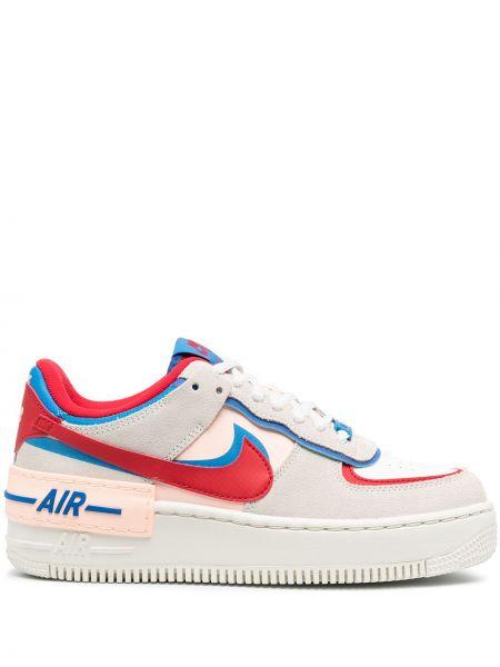 Koronkowa skórzany biały sneakersy na sznurowadłach Nike