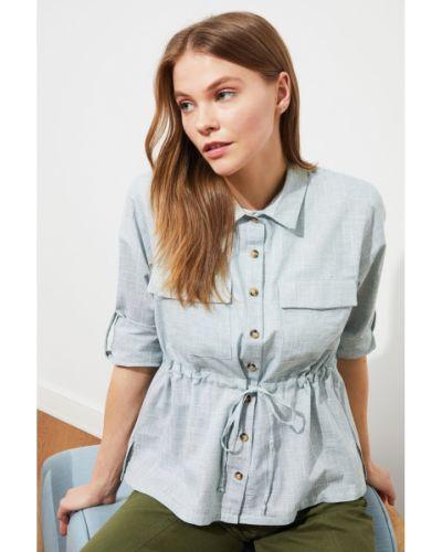 Koszula bawełniana z paskiem Trendyol