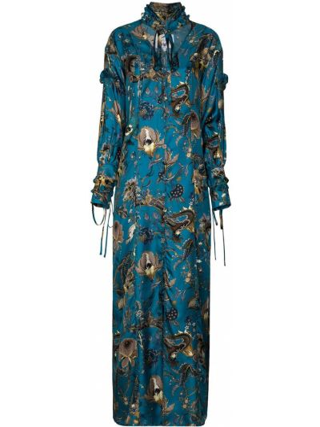 Синее шелковое платье макси с вышивкой на пуговицах Evi Grintela