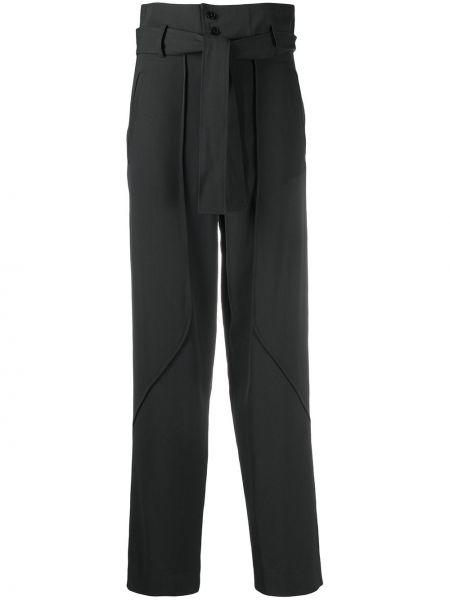 Шерстяные брючные серые брюки с карманами Ba&sh