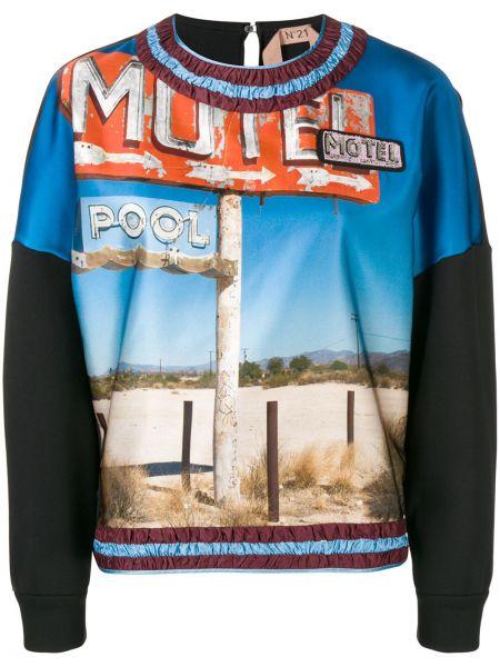 Черный спортивный свитер с круглым вырезом круглый N°21
