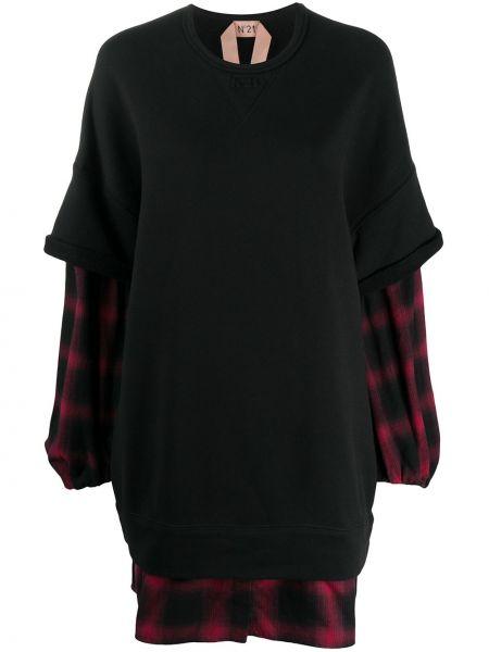 Черное платье макси с рукавом реглан с тиснением из вискозы N°21