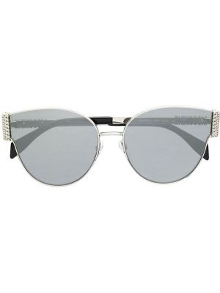 Прямые серебряные солнцезащитные очки металлические Moschino Eyewear