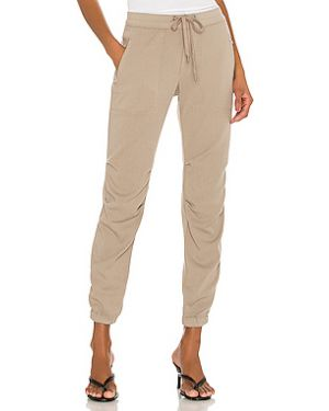 Хлопковые коричневые брюки со складками на молнии James Perse