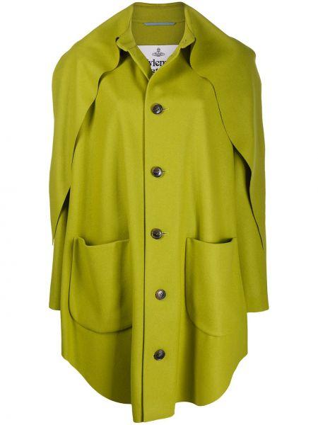 Зеленое брендовое длинное пальто с воротником Vivienne Westwood