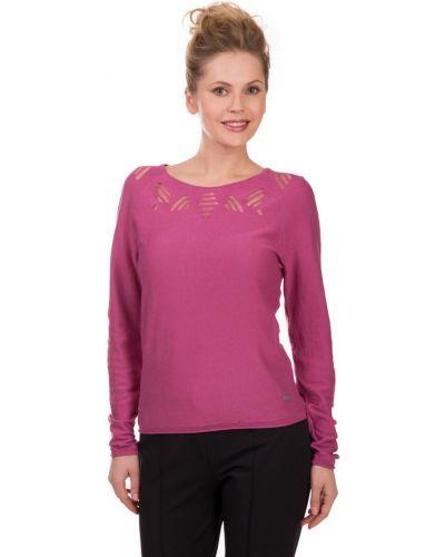 Розовый пуловер с узором коса Lerros