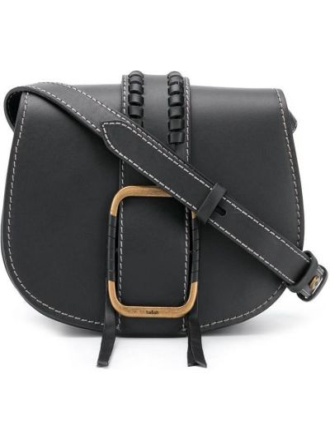 Кожаная черная сумка через плечо с карманами Ba&sh