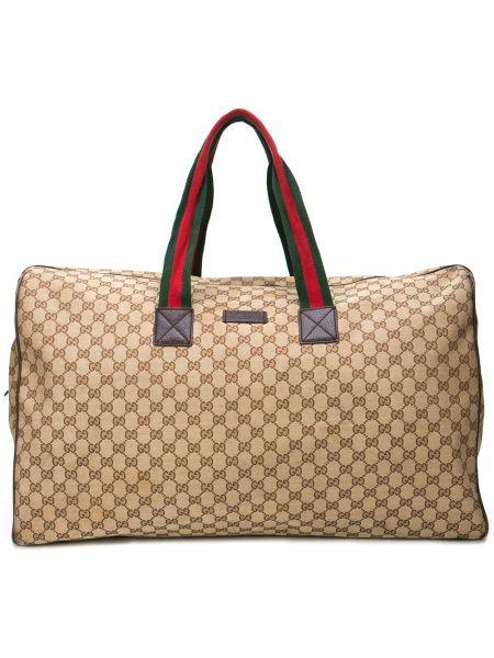 Коричневая парусиновая сумка с ручками винтажная с заплатками Gucci Pre-owned