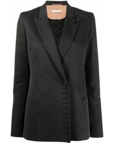 Однобортный черный удлиненный пиджак с подкладкой Ssheena
